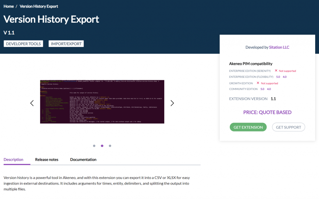 Sitation Adds Akeneo Extension to Marketplace: Version History Export Command